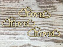 """Natúr fa - """"Love"""" felirat szívekkel 10cm"""