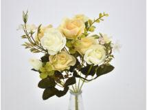 5 ágú rózsabimbó csokor krém-fehér