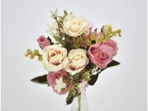 5 ágú rózsabimbó csokor rózsaszín-krém