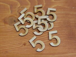 Natúr fa számok 5-ös 3cm 10db/cs
