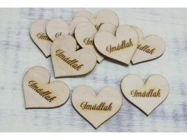 "Natúr fa szív ""Imádlak"" 4cm 10db/csomag"