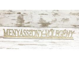 """Natúr fa - """"Menyasszony-Völegény"""" talpas tábla 74cm"""