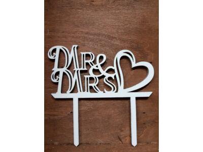 Mrs & Mrs tortadísz szíves fehér