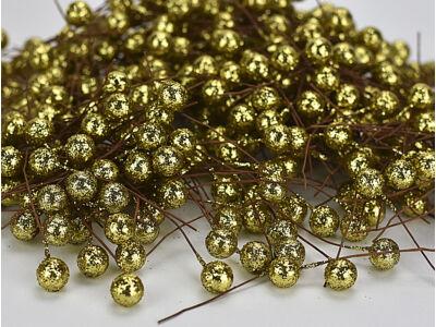 Csillámos drótos bogyó arany 4000db/cs - OKOS ÁR!