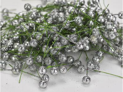 Csillámos drótos bogyó ezüst 4000db/cs - OKOS ÁR!