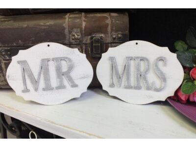 """""""MR&MRS"""" tábla fehér-szürke"""