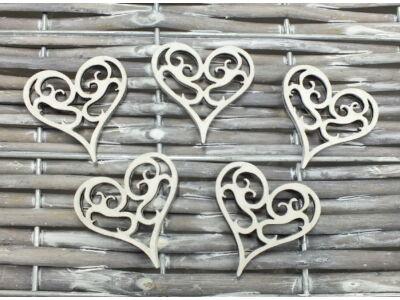 Vintage szív  fehér 4x4cm 5db/csomag