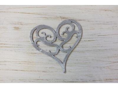 Vintage szív 10cm koptatott szürke
