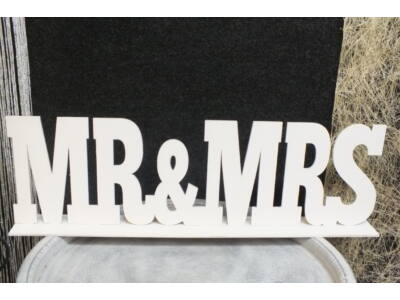"Fa - ""Mr & Mrs"" felirat talppal fehér 50cm"