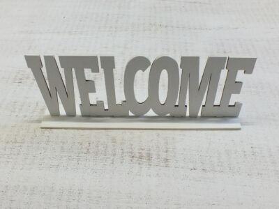 Welcome tábla talpas fehér 25cm