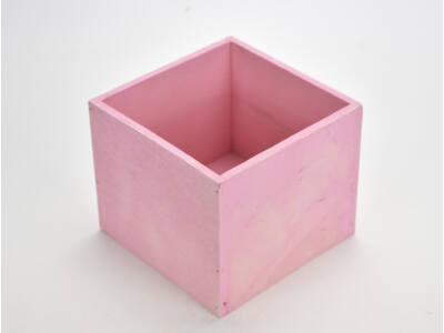 Dekoláda pink kocka 13x13cm, mag:11cm