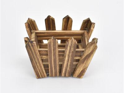 Fa kerítéses ládika íves barna