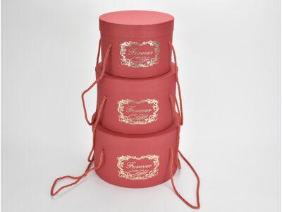'Forever' kalapdoboz szett piros 3db/szett