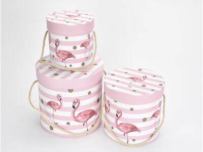 Flamingós kalapdoboz szett csíkos 3db/szett
