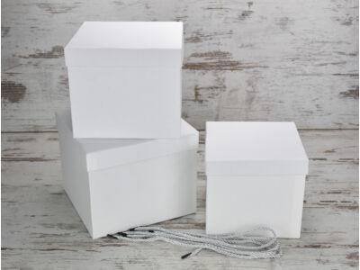Kocka doboz szett fehér 3db/szett