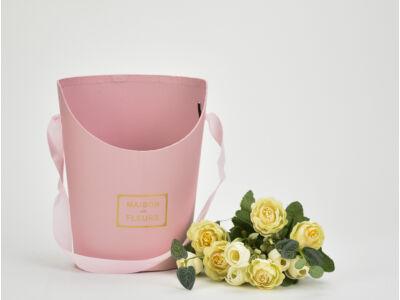 Papír virágtartó long kicsi rózsaszín
