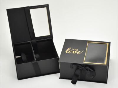Virág-ajándék doboz fekete 2db/szett