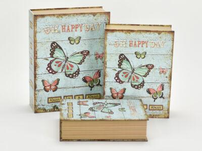 Papír doboz könyv lepke 3db/szett