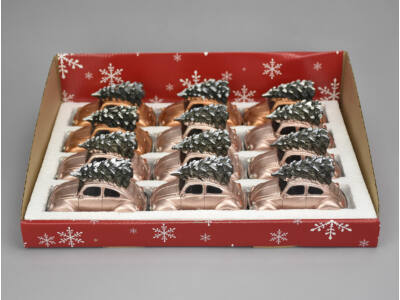 Vintage bogárhátú fenyőfával világítós vegyes színek 12db/doboz  - OKOS ÁR!
