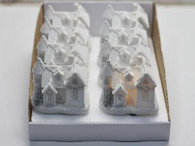 Fehér-ezüstvilágítós házikó közepes 8db - OKOS ÁR!