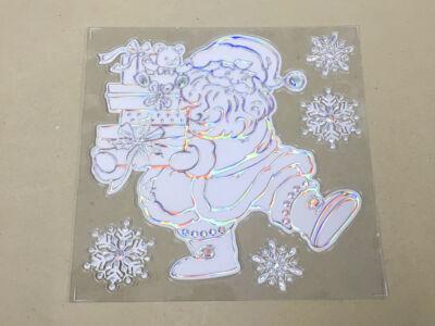 Öntapadós karácsonyi faldísz ezüstös mikulás