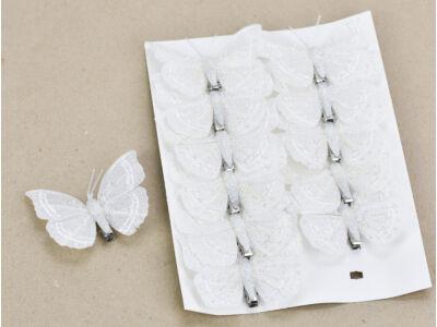 Lepke csipeszes fehér csillámos 12db/csomag