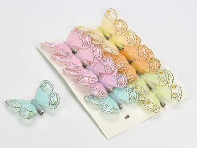 Lepke csipeszes pasztell színek 12db/csomag