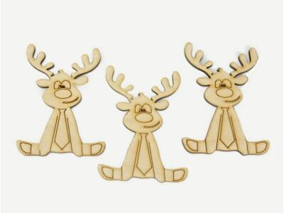 Natúr fa - Nyakkendős rénszarvasok 3db/csom