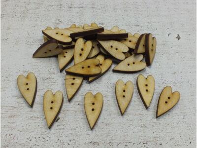 Fa gomb szív hosszúkás 30db/csomag