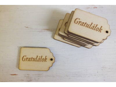 """Natúr fa - Scrapbook kisérő táblák """"Gratulálok"""""""