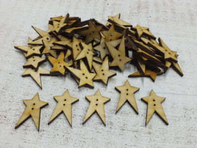 Natúr fa - Country csillag gomb 3cm