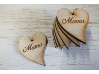 "Natúr fa szív ""Mama"" felirattal 10db/csomag"