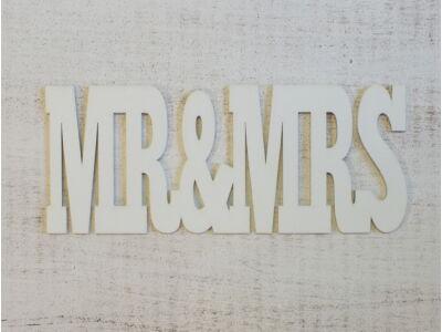 "Fa ""Mr & Mrs"" felirat fehér 25cm"
