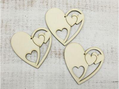Natúr szív a szívben 10cm 3db/csomag