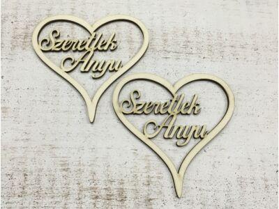 """Natúr """"Szeretlek Anyu"""" felirat szívben 2db/csomag"""