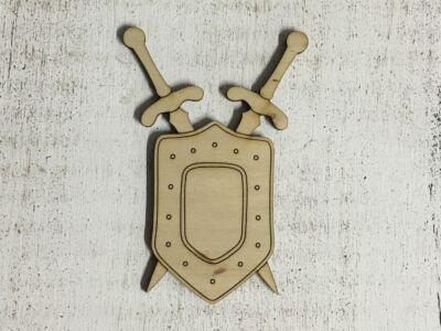 Natúr fa - Pajzs karddal 10cm