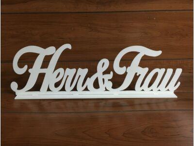 "Fa - ""Herr & Frau"" felirat talppal  fehér 50cm"