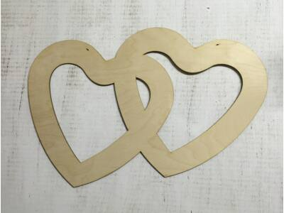 Natúr fa - Dupla szív fotókeret 40cm