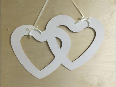 Fa - Dupla szív fotókeret fehér