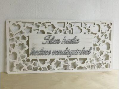 """Fa - Köszöntő tábla """"Isten hozta kedves vendégeinket"""" fehér"""