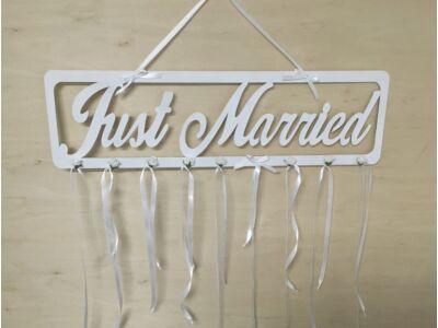 """Fa - """"Just Married"""" tábla fehér"""