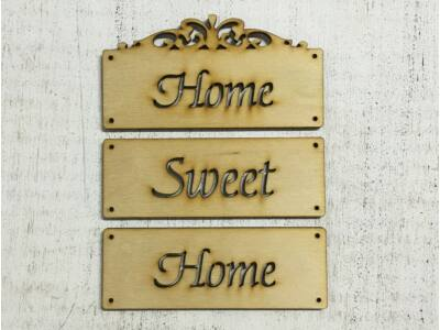 """Natúr fa - """"Home sweet home"""" tábla 12cm"""