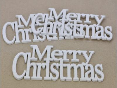 """Fa - """"Merry Christmas"""" felirat koszorúra fehér 21cm 3db/csomag"""