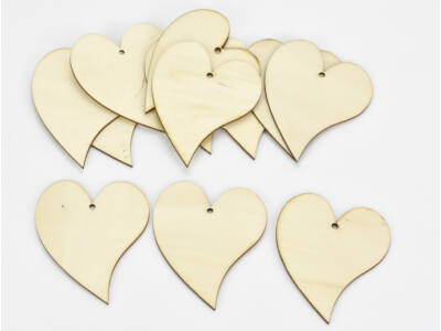 Natúr fa - Francia szív 8x10cm 12db/csomag