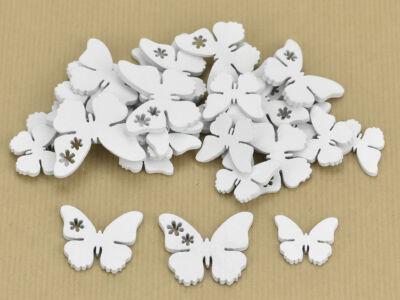Fa virágmintás pillangó fehér 30db/csomag