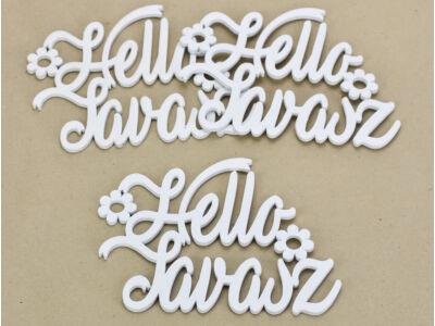 """Fa """"Hello Tavasz"""" felirat koszorúra fehér 14,5x20cm 3db/csomag"""