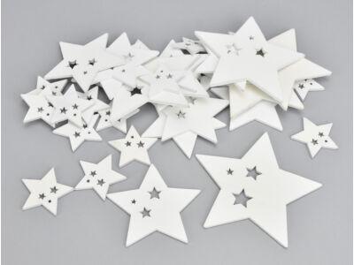 Fehér fa csillagos csillagok 30db/csomag