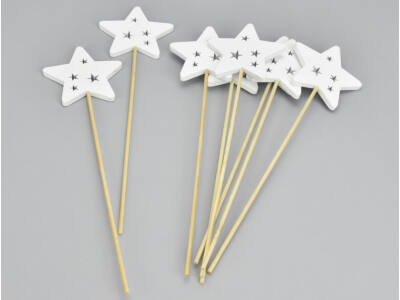 Fehér fa pálcás csillag 8db/csomag