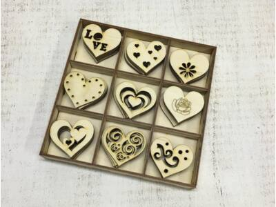 Natúr fa - Szíves doboz szett 45db szív/doboz
