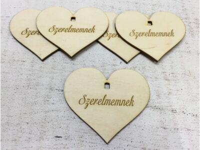 """Natúr fa - Szív """"Szerelmemnek"""" 7cm 5db/cs  (szív állványhoz)"""